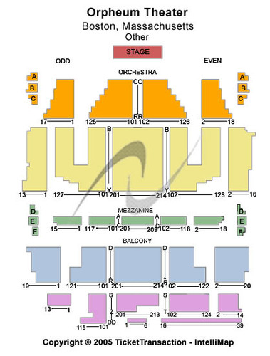 Orpheum Theatre Tickets Seating Charts